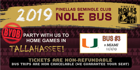 Pinellas Seminole Club Nole Bus Three (vs. Miami) tickets