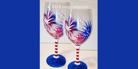 4th of July Fireworks Wine Glasses - Sip & Paint Party Art Maker Class tickets