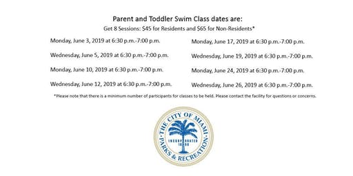 Grapeland Water Park Parent and Toddler Monday/Wednesday (6:30PM-7:00PM)