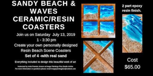 Sandy Beach & Waves Resin Coasters Workshop