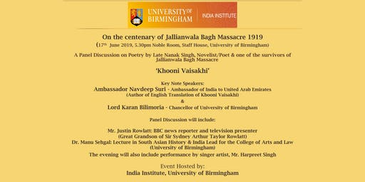 A Panel Discussion on 'Khooni Vaisakhi' (Poetry by Late Nanak Singh, Novelist/Poet & one of the survivors of Jallianwala Bagh Massacre 1919)