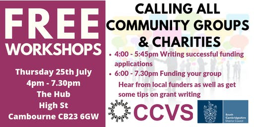 Community Event - Finding funding and creating good funding bids two part event sign up for one or both parts (free to community groups)