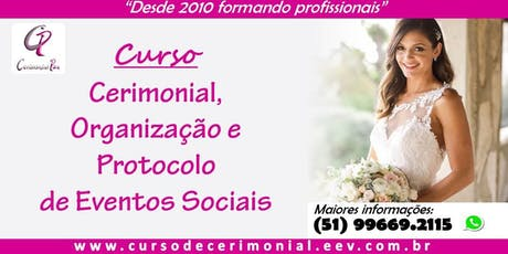 CURSO DE CERIMONIAL - DOMINGO ingressos