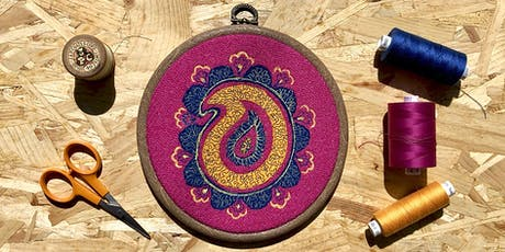 Free motion embroidery hoop art workshop tickets