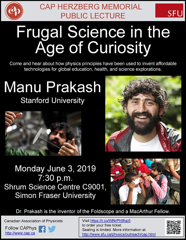 Herzberg Memorial Public Lecture: Frugal Science in the Age of Curiosity image
