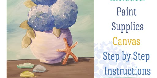 Top Notch Nutrition Outdoor Paint Party-Wed June 26th 6-8pm-Hydrangea and Starfish Painting