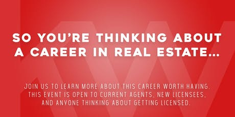 Thinking of a Career in Real Estate?  Ready to join a new Brokerage? Join us for our FREE Workshop to learn how to get started!  Be our guest!  tickets