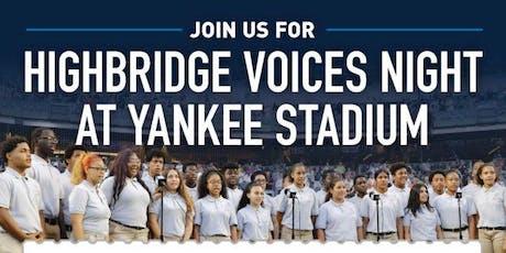 Highbridge Voices Night at Yankee Stadium tickets