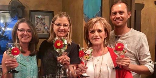 In Bloom Wine or Beer Glass Painting Class at Von Ebert - Glendoveer