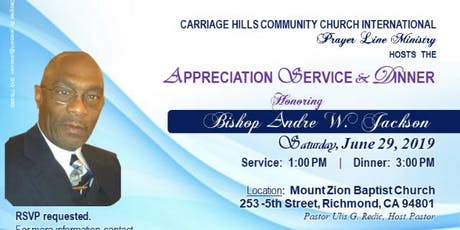 Bishop Andre W. Jackson Appreciation Service and Dinner tickets