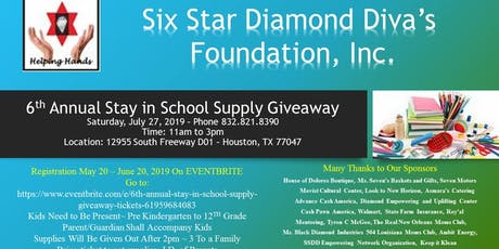 6Th Annual Stay In School Supply Giveaway  tickets