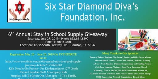 6Th Annual Stay In School Supply Giveaway