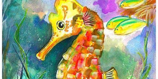 Baby Seahorse Ocean Scene - Art Class