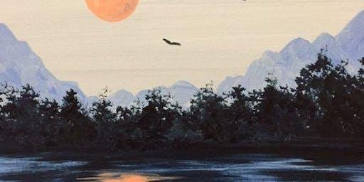 Blue Landscape sunset - Art Class