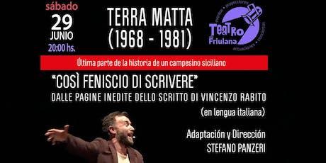 """Teatro en Italiano - """"Terra Matta"""" de y con Stefano Panzeri entradas"""