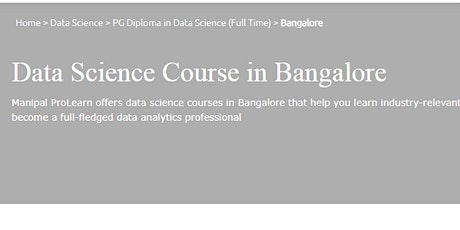 Data Science Training in Bangalore - Manipal ProLearn biglietti