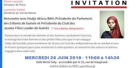Rencontre  avec Hadja Idrissa BAH, Présidente du Parlement des enfants de Guinée billets
