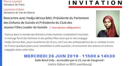 Rencontre  avec Hadja Idrissa BAH, Présidente du Parlement des enfants de Guinée