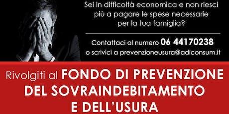 20 Anni del Fondo di Prevenzione del Sovraindebitamento e Usura - Adiconsum biglietti