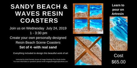 Sandy Beach & Waves Resin/Ceramic Coasters Workshop tickets