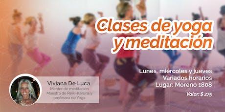 Clase de yoga y meditación entradas