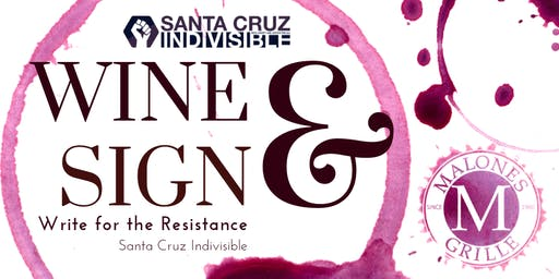 SC Indivisible Wine & Sign Postcards at Malone's Grille 7.9.19