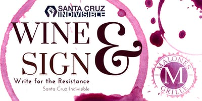 SC Indivisible Wine & Sign Postcards at Malone's Grille 8.13.19