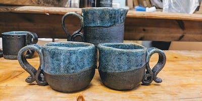 Adult evening pottery workshop - Mug making.