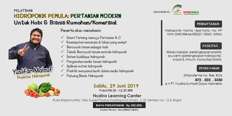 PELATIHAN HIDROPONIK PEMULA : PERTANIAN MODERN UNTUK URBAN FARMING tickets