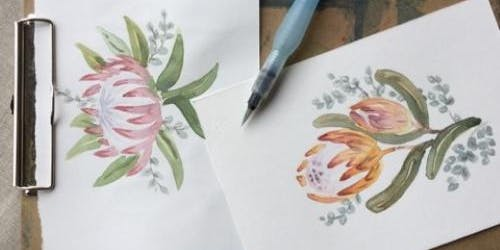 Watercolour for beginners - learn tips and techniques and paint a protea