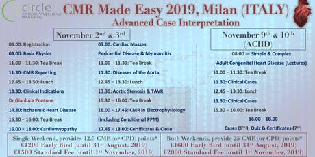Cardiovascular Magnetic Resonance Made Easy 2019, Milan (ITALY) tickets