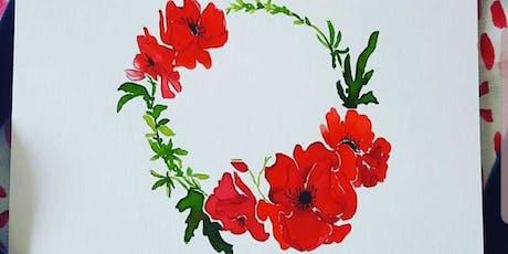 Watercolor Decorative Wreath tickets