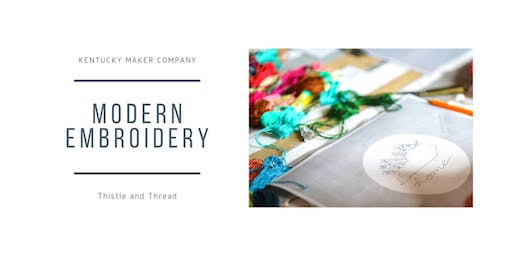 Modern Embroidery Workshop with Thistle and Thread Design