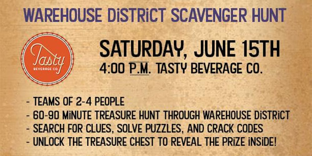 Raleigh Warehouse District Treasure Hunt Tasty Beverage Co Registration Sat Jun 15 2019 At 4 00 Pm Eventbrite