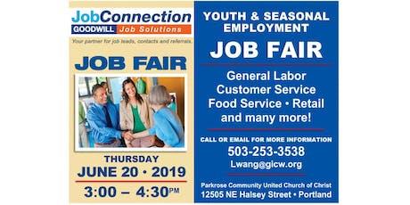 Job Fair! - Youth Seasonal Employment - Portland - 6/20/19 tickets