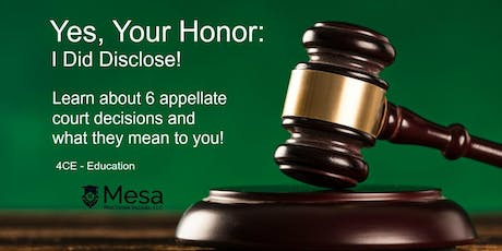 Yes, Your Honor, I Did Disclose! (Core Elective)for RE/MAX Elite Only tickets