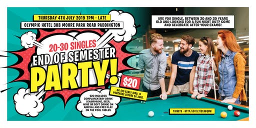 Singles 20 to 30 end of semester party