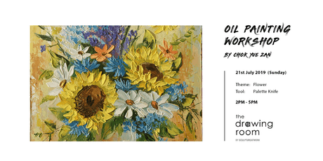 Oil Painting Workshop by Zan - Flower by palette knife tickets