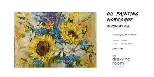 Oil Painting Workshop by Zan - Flower by palette knife