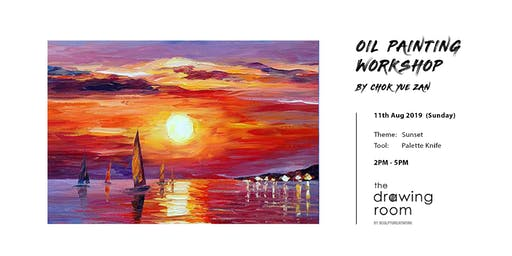 Oil Painting Workshop by Zan - Sunset by palette knife