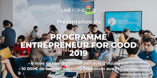 Présentation du Programme Entrepreneur for Good 2019 à NANTES