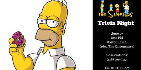 The Simpsons Trivia Night - Boston Pizza Queensway tickets