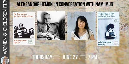 Book Launch Party: Aleksandar Hemon in conversation with Nami Mun