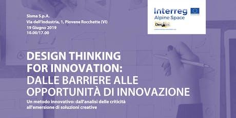 Design Thinking for innovation: dalle barriere alle opportunità di innovazione biglietti
