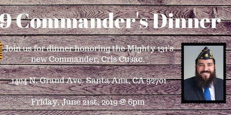 2019 Commander's Inauguration Dinner tickets