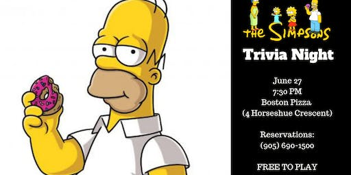 The Simpsons Trivia Night - Waterdown