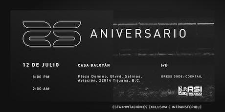 Evento de 25 aniversario boletos