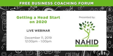 Free Coaching Webinar: Getting a Head Start on 2020 tickets