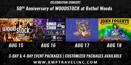 50TH Anniversary of Woodstock Resort & Concert Packages tickets