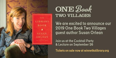 An Evening with Susan Orlean: 6pm Cocktail Party & Lecture ($50) or 7:30pm Lecture only ($15)  tickets